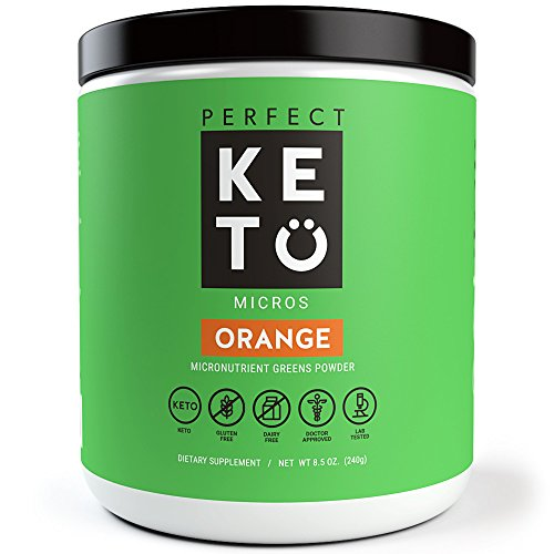 Perfect Keto Greens Superfood Powder- Super Micro Green Drink & MCT Oil to Burn Fat for Fuel- Best as Low Carb Ketogenic Diet Supplement for Ketosis- Amazing for Ketones and Athletic Diets | (Orange)