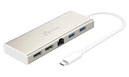 j5create USB Type-C Dual HDMI Mini Dock, Ethernet, USB 3 1 HUB/PD 2 0  JCD381,4K HDMI, Portable