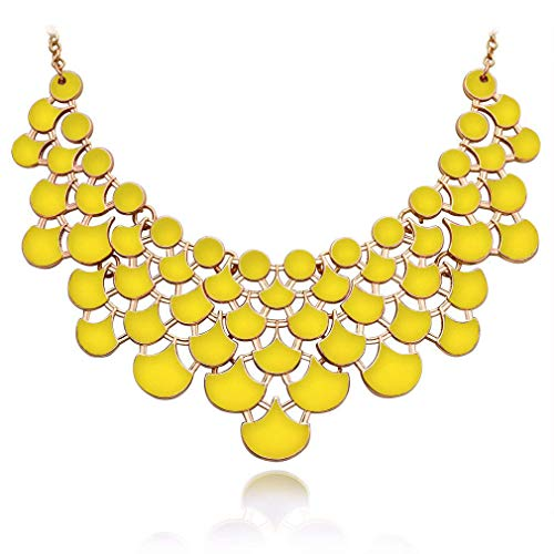 JANE STONE Necklace Magnetic Scaly Yellow Jewelery Vintage Openwork Bib Statement Fall Wedding Necklace(Fn0968-Yellow)