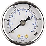 100 pics pic - PIC Gauge 102D-158E Dry Filled Utility Center Back Mount Pressure Gauge with Black Steel Case, Chrome Bezel, Plastic Lens, 1-1/2