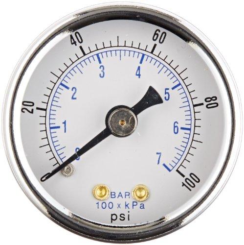 PIC Gauge 102D-158E Dry Filled Utility Center Back Mount Pressure Gauge with Black Steel Case, Chrome Bezel, Plastic Lens, 1-1/2