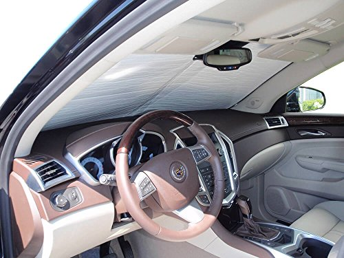 The Original Windshield Sun Shade, Custom-Fit for Cadillac SRX SUV w/Sensor 2010, 2011, 2012, Silver Series