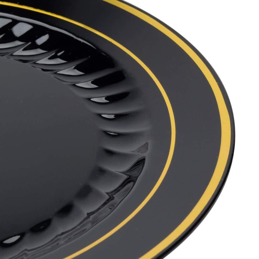 /nero con oro design/ | plastica piatti/ /18/cm Confezione da 15/piatti di eleganti piatti di plastica rigido 17,8/cm