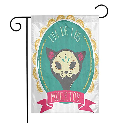 QIAOQIAOLO Multifunctional Garden Flag Mexican Decorations Dead Themed Sugar Cat Skull Mask in Gold Circle Frame with Spanish Words Suitable for Garden Teal Pink W12 xL18