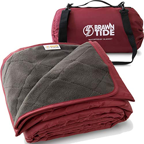 Brawntide Large Outdoor Waterproof Blanket - Quilted with Extra Thick Fleece, Warm, Windproof, Ideal Stadium Blanket, Great for Camping, Festivals, Picnics, Beaches, Dogs (Wine)