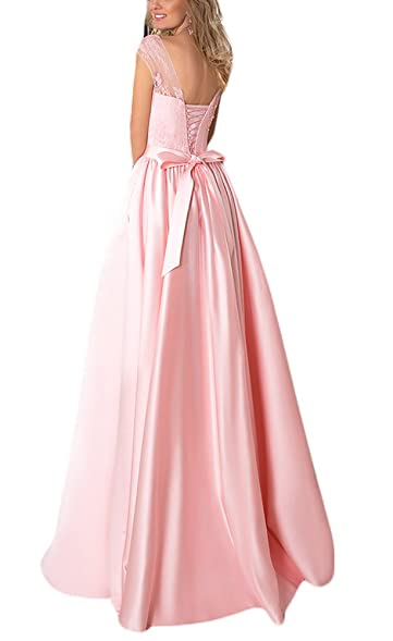 2017 Gotidy Womens Lace Top Silk Satin A-line Prom Dresses Pink Bow