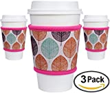 reusable hot beverage cups - MOXIE Cup Sleeves 3 pack – Reusable Coffee Sleeves - Insulated to protect your hands! – Perfect for hot & cold drinks - One size fits all (Pink Leaf 3pk) …