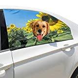 Zemivs Sunflower Wearing Sunglasses Foldable Pet Dog Safety Car Printed Window Fence Curtain Barriers Protector For Baby Kid Adjustable Flexible Sun Shade Cover Universal Fit For Suv