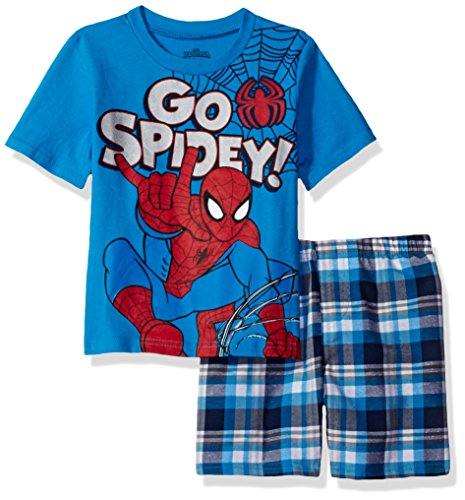 Marvel Little Boys' Spiderman Plaid Short Set, Blu, 5