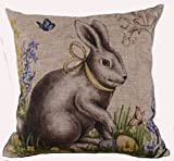"""Cotton Linen Square Decorative Throw Pillow Case Cushion Cover Happy Easter Retro Smile Rabbit Color Egg and Butterflies 18 """"X18 """" (2)"""