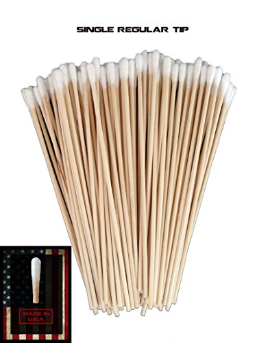 (Single Sided Regular Tip) Type-III 100pc Gun Cleaning 6 Inch American Made Cotton Swabs (Three Single Wood)