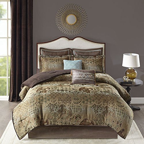 Madison Park Hickory 8 Piece Chenille Jacquard Comforter Set Bedding, Queen Size, Spa