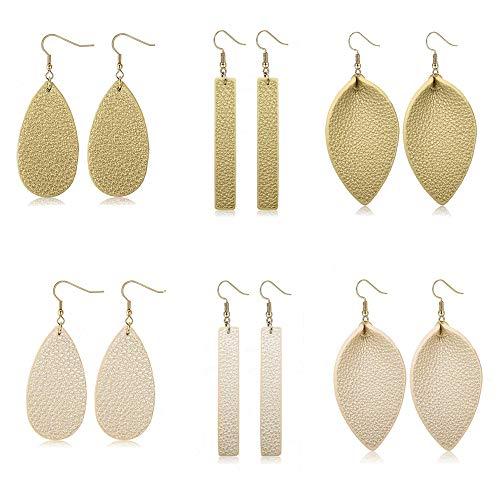 (Adramata Dangle Leather Earrings for Women Teardrop Leaf Earrings statement jewelry)