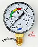 Jardiboutique 3-Bar Sand Pool Filter Pressure Gauge with Red and Green Compass 1/4 Inch Back Mount