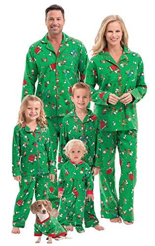 PajamaGram Family Christmas Pajamas Soft - Charlie Brown, Green, Infant, 6M
