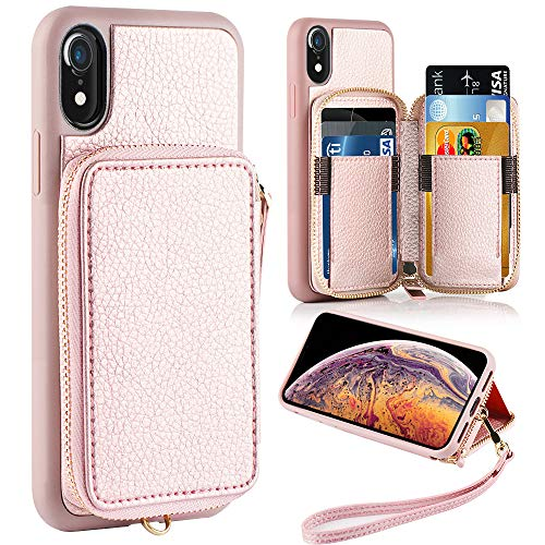 ZVE iPhone XR Wallet Case iPhone XR Case with Credit Card Holder Slot Shockproof Protective Leather Wallet Zipper Pocket Purse Handbag Wrist Strap Case for Apple iPhone XR 6.1