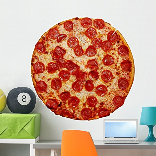 Wallmonkeys Whole Pepperoni Pizza Wall Decal Peel and Stick Graphic WM214439 (36 in W x 24 in H)