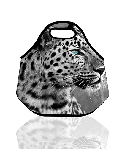 Blue Eyes Snow Leopard Insulated Neoprene Lunch Bag Tote