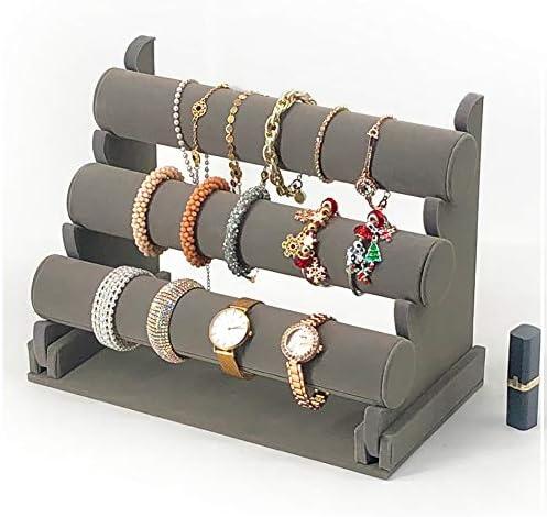 7TH VELVET Bracelet Holder, Grey Velvet Jewelry Display Stand, Detachable Bracelet Display Organizer Stand, Jewelry Holder for Watch Display WeeklyReviewer