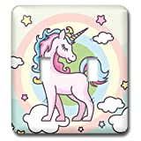 3dRose Sven Herkenrath - Animal - Cute Pink Unicorn on Rainbow Background - Light Switch Covers - double toggle switch (lsp_290729_2)