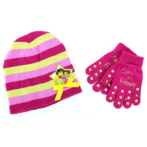 Disney Nickelodeon Mattel Girls Hat and Gloves Set (Pink Dora & Friends)