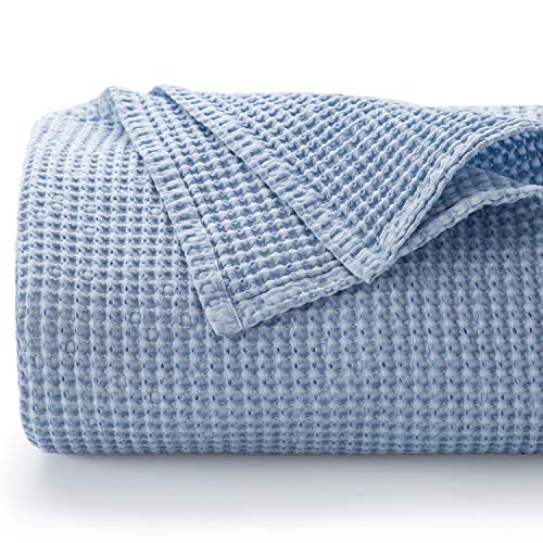 Bedsure 100% Cotton Blanket - Stone-Washed Bed Blanket with Waffle Pattern for Home Decoration - Perfect for Layering Any Bed for All-Season - King Size (104