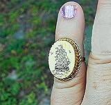 Scrimshaw Vintage Hand Carved Faux Ivory, Tall Ships Scrimshaw Signed Gold Filled Ring, Only Size 2 1/2