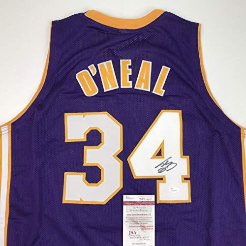 100 Nba Jersey Numbers - Autographed/Signed Shaquille Shaq O'Neal Los Angeles LA Purple Basketball Jersey JSA COA