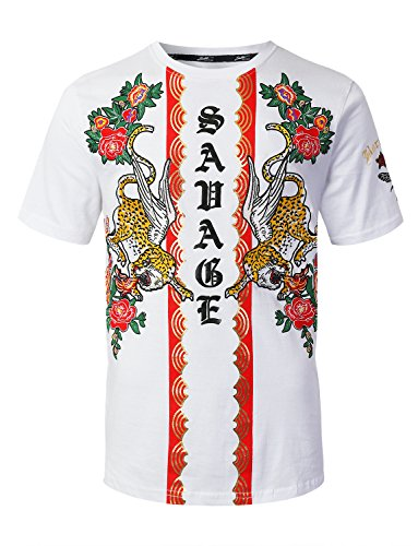 URBANCREWS Mens Hipster Hip Hop Tiger Floral Printed T-Shirt White Medium