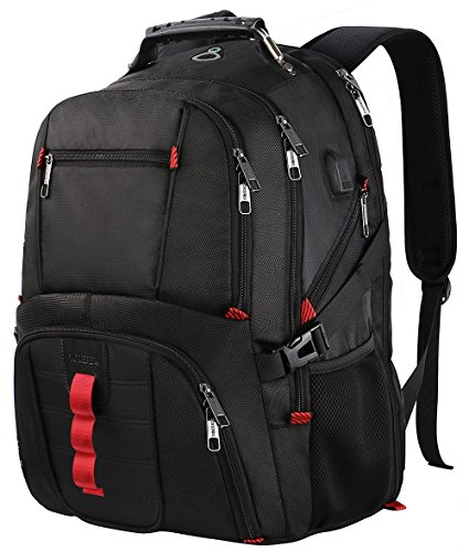 Extra Large Backpack,TSA Friendly Durable Travel Computer Backpack USB Charging Port/Headphones Hole Men&Women,Water-Resistant Big Business College School Bookbag Fits 17 inch Laptop&Notebook
