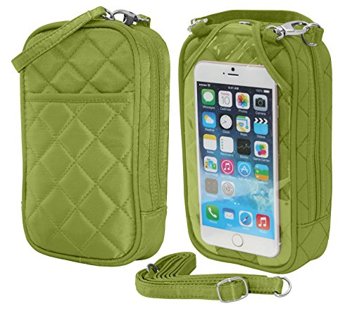 Charm14 Purse Plus Quilt Cell Phone Case/Purse with Touchscreen – Lime Green by Charm14