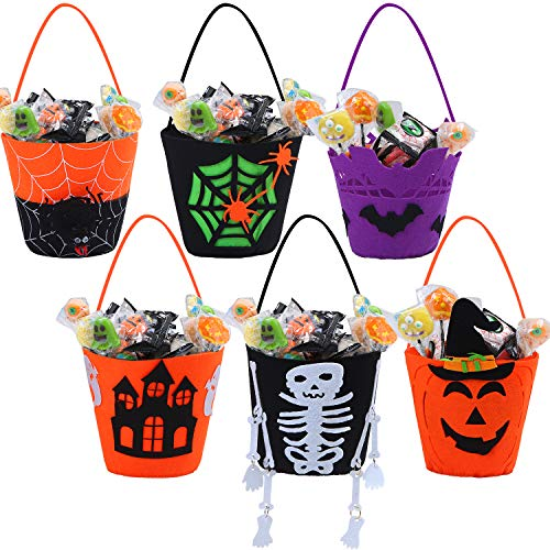 URATOT 6 Packs Halloween Felt Candy Holders Trick or Treat Bags Candy Buckets with Handle Pumpkin Treating Gift Bags for Halloween Decoration Party
