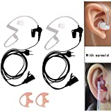 2 Pin Earpiece for Midland, 2Pack Security Surveillance Acoustic Air Tube Headset PTT Mic for Midland Two Way Radio Walkie Talkie + Replacement 2 Way Radio Earmold Earbud Pink Small Size, Lsgoodcare