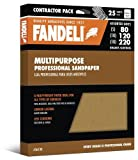 Fandeli 36100 Assorted Grits (80, 120, 220) Multipurpose Sandpaper Sheets, 9'' x 11'', 25-Sheet