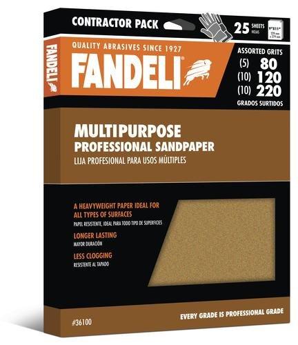 Fandeli 36100 Assorted Grits (80, 120, 220) Multipurpose Sandpaper Sheets, 9'' x 11'', 25-Sheet