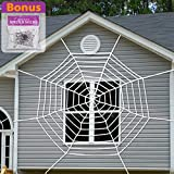 Pawliss 9 Feet Giant Spider Web with Super Stretch Cobweb Set, Hallowee (Small Image)