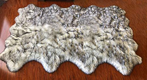 Octo Rugs Sheepskin - Super Soft Faux Sheepskin Free Shape Silky Shag Rug (Octo 8 Pelts 6'x8', White with Black Tips)