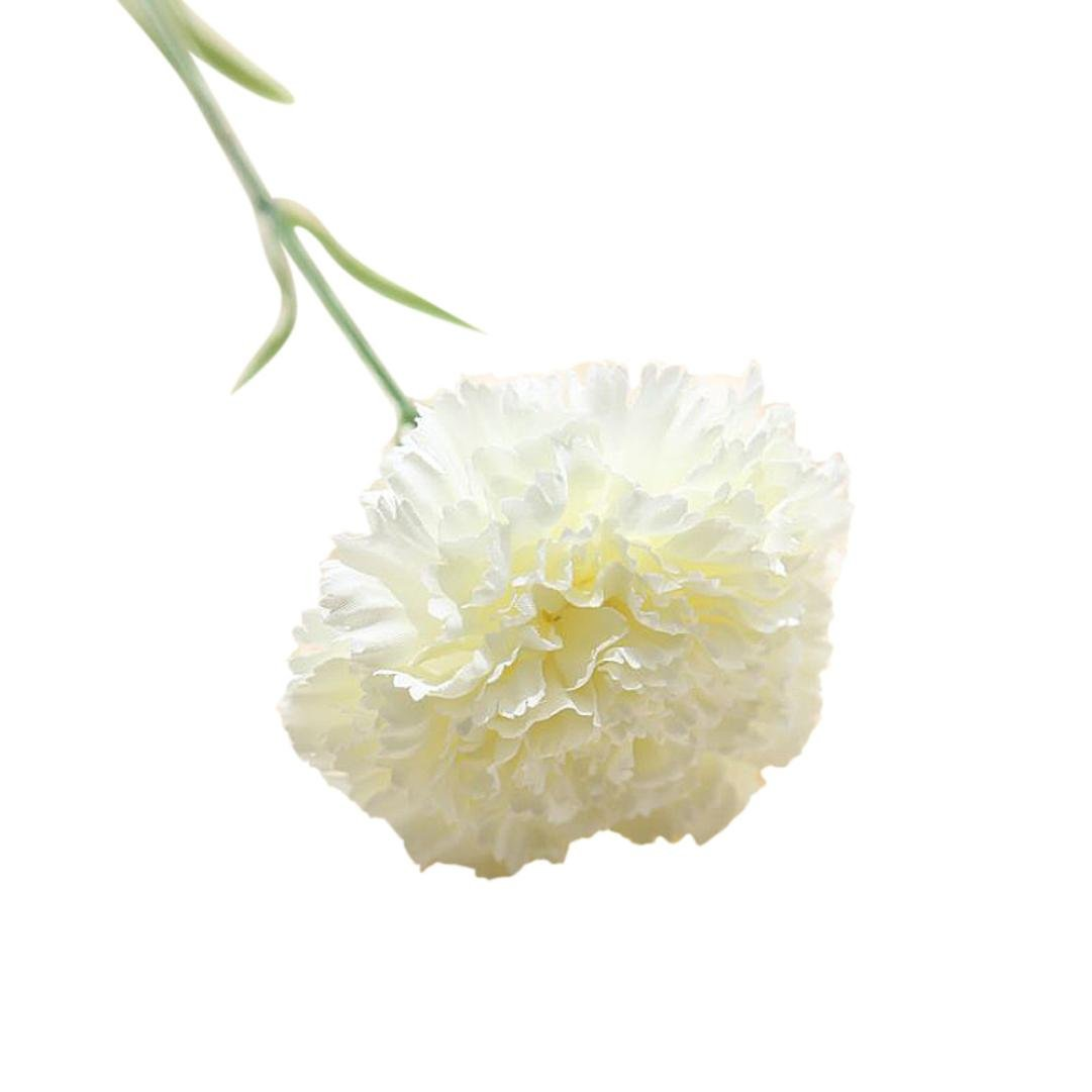 Ganenn Fake Silk Carnations, SUKEQ Artificial Silk Carnations Flowers Plant Floral Bouquet Flower Picks for Mom, Women, Happy Mother's Day (White)