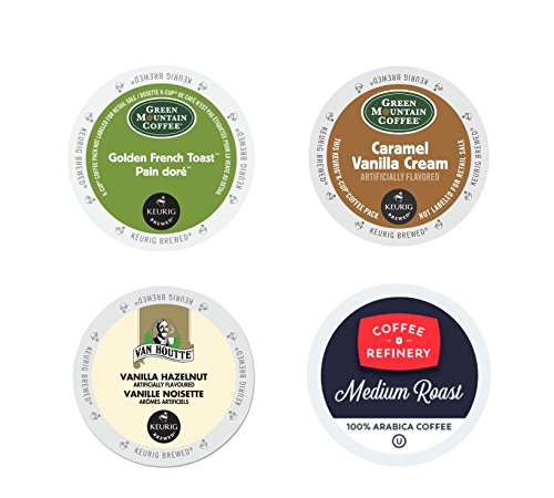 Flavored Variety Pack, Green Mountain Caramel Vanilla Cream, Van Houtte Vanilla Hazelnut, Green Mountain Golden French Toast, Coffee Refinery. For Keurig K-cup brewers 96 Count. -