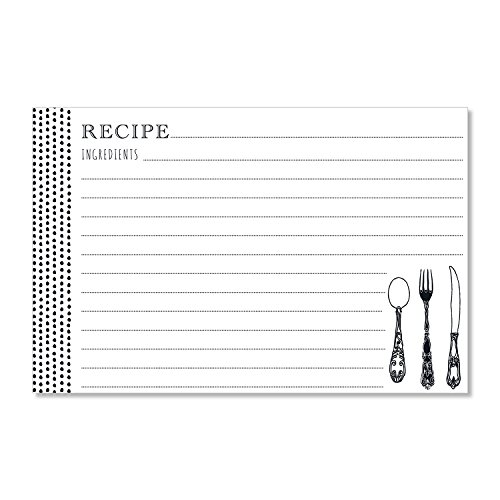"""C.R. Gibson 40 Count Recipe Cards, Lined Back To Front, Cards Measure 4"""" x 6"""" - Scrumptious Dots"""