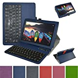 Lenovo Tab3 10 Business Bluetooth Keyboard Case,Mama Mouth Slim Stand PU Leather Cover with Romovable Bluetooth Keyboard for 10.1'' Lenovo Tab 3 10 Business TB3-X70F / TB3-X70N Tablet 2016,Blue