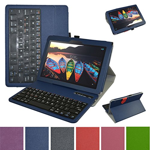 Lenovo Tab3 10 Business Bluetooth Keyboard Case,Mama Mouth Slim Stand PU Leather Cover with Romovable Bluetooth Keyboard for 10.1'' Lenovo Tab 3 10 Business TB3-X70F / TB3-X70N Tablet 2016,Blue by MAMA MOUTH