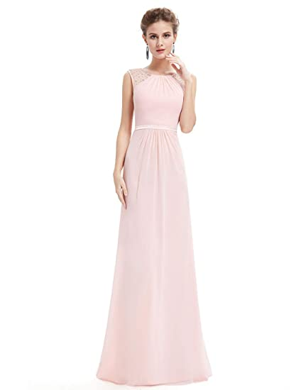 7e0ea85a3ae12 Ever Pretty Maxi Long Sleeveless Chiffon Wedding Bridesmaid Dresses 8UK Pink
