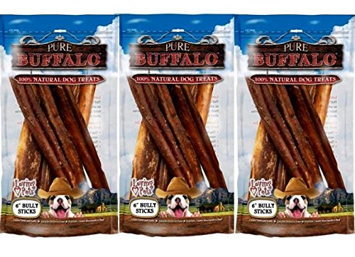 Loving Pets Pure Buffalo 6-Inch Bully Stick Dog Treat, 18-Pack