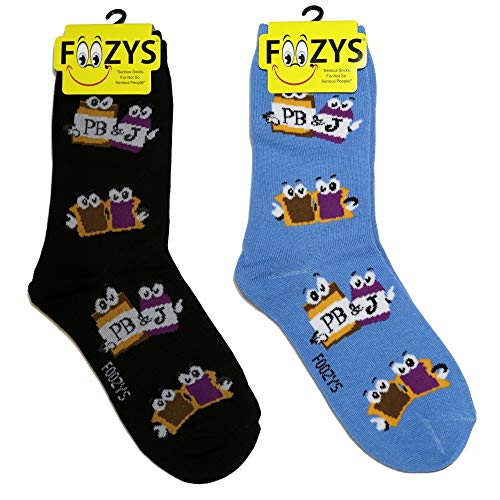 Foozys Women's Crew Socks | Peanut Butter Jelly Food & Drink Novelty Socks | 2 Pair
