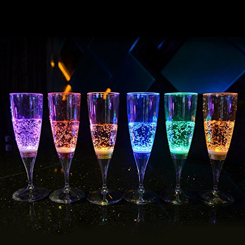 LED Champagne Glass Inductive Color Cup Goblet for Party / Wedding - 6 Pcs