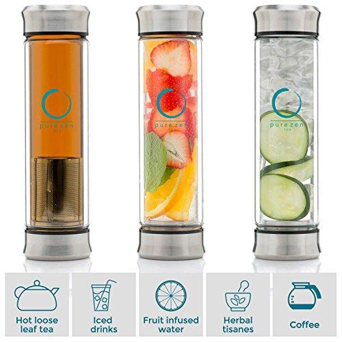 Pure Zen Tea ...  sc 1 st  HealthCare Too & Pure Zen Tea Tumbler with Infuser | BPA Free Double Wall Glass ...