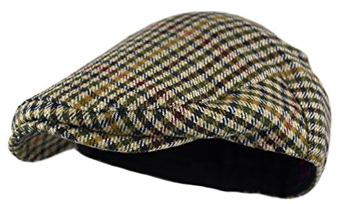Wonderful Fashion Men's Classic Herringbone Tweed Wool Blend Newsboy Ivy Hat (Small/Medium, Houndstooth Camel) -