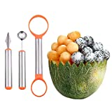 WAAO 3-in-1 Stainless Steel Melon Baller & Carving Knife & Fruit Scoop Set for Fruit Slicer Dig Pulp Separator and Carve