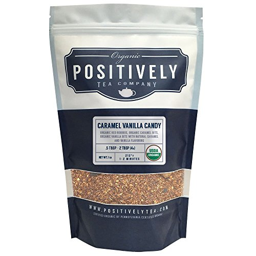 Positively Tea Company, Organic Caramel Vanilla Candy, Rooibos Tea, Loose Leaf, USDA Organic, 1 Pound Bag